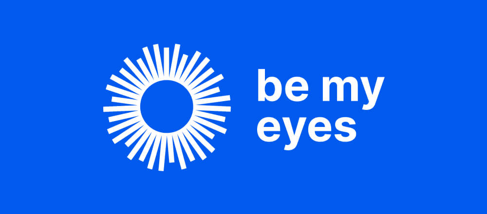 The new Be My Eyes logo in white on a blue background.