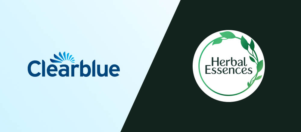 Logos of Clearblue and Herbal Essences.