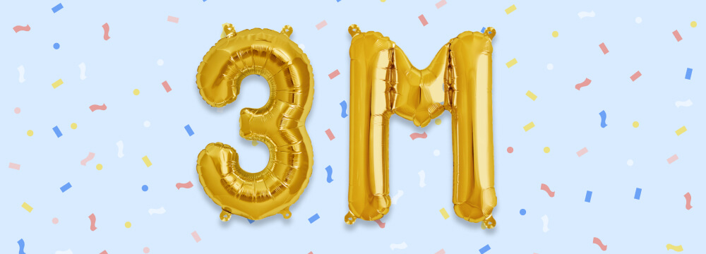 '3 M' written with gold balloons with confetti in the background.