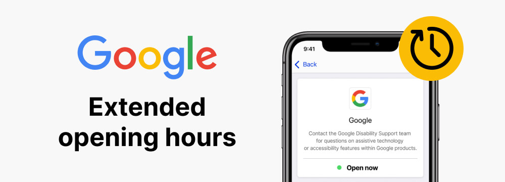 Google's profile on Be My Eyes Specialized Help along with the text: 'Google extended opening hours'.