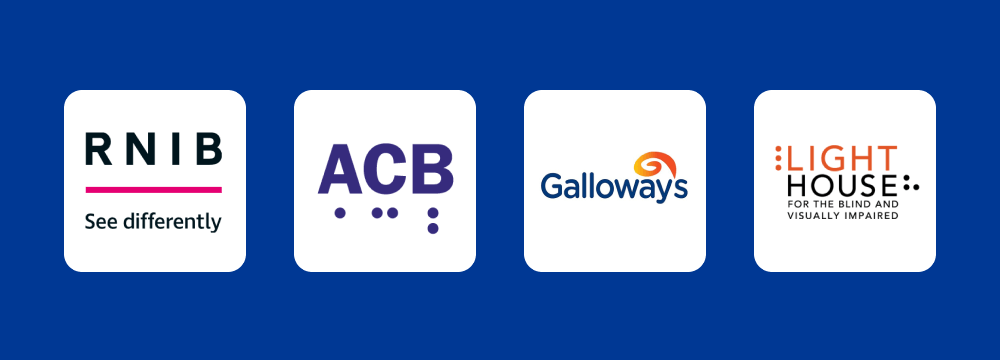 The logos of RNIB, ACB, Galloway's and Lighthouse San Francisco on a blue background.
