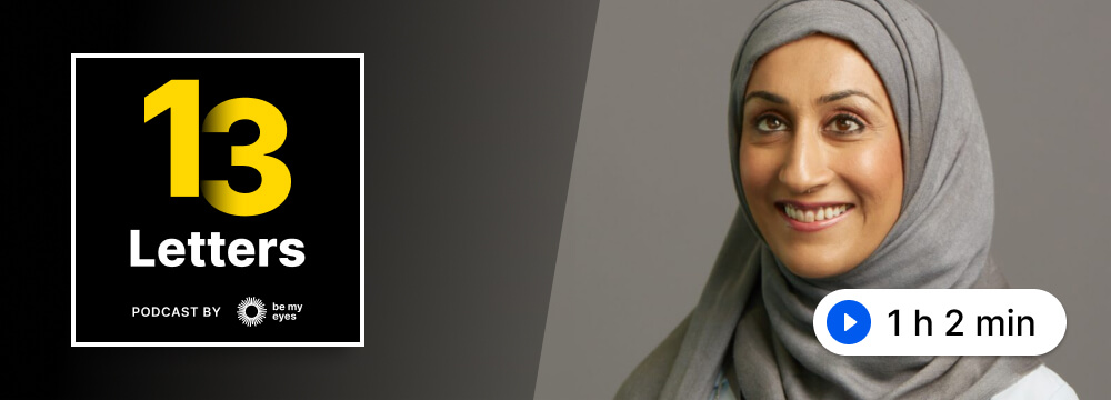 Photo of Sumaira Latif along with the 13 Letters Podcast logo.