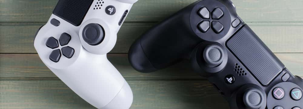 Two Sony Playstation controllers.