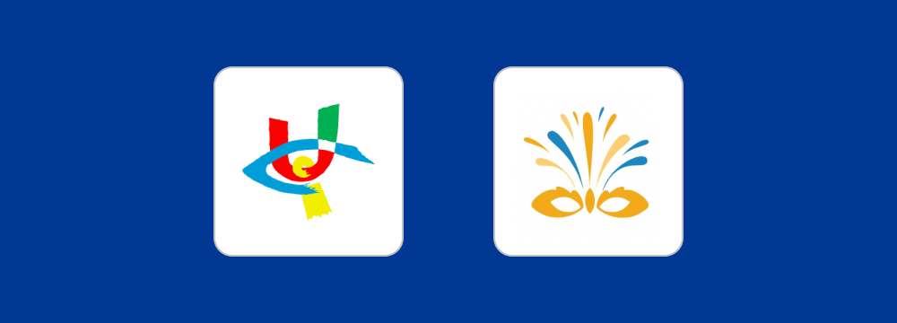 The logos of UICI and ITVI on a blue background.