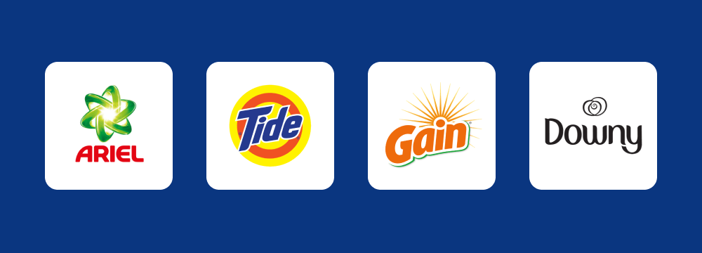 Logos of Ariel, Tide, Gain and Downy on a dark blue background.