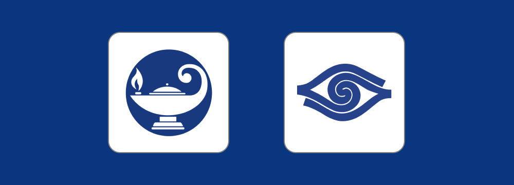 Blindrafelagid and UNSS logos on a blue background.