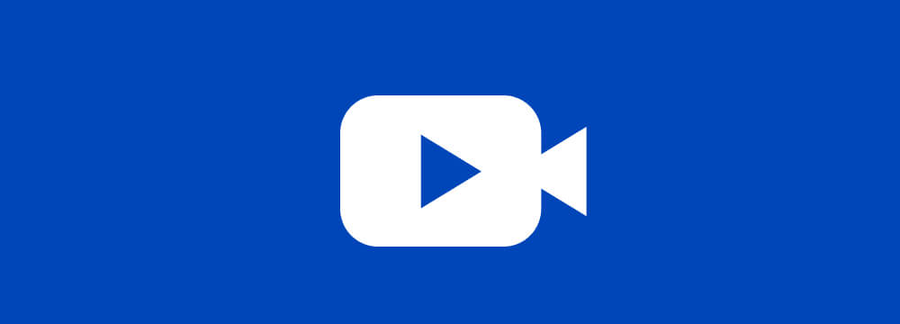 White videocamara icon on blue background.