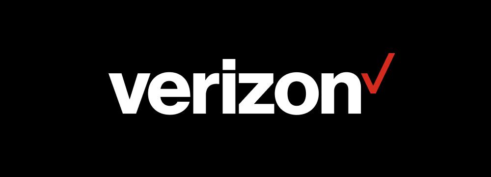 White Verizon logo on black background.